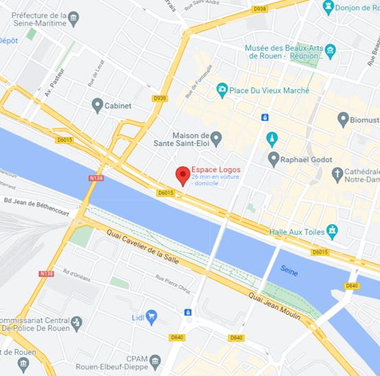 Plan google maps Espace Logos Rouen